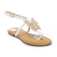 Bílé sandály s motýlem