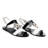 Lakované sandálky černobílé