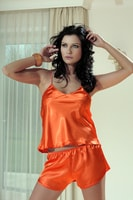 Dámské saténové pyžamo Karen oranžové