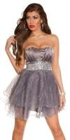 Krátké stříbrné plesové šaty
