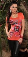 Dámské módní oranžové triko s potiskem