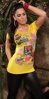Dámské módní žluté triko s potiskem