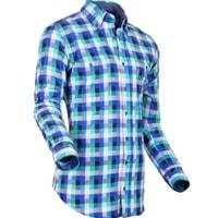 Pánská košile Pontto modrozelená kostka