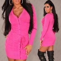 Růžový propínací svetr