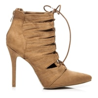 Semišové boty s vázáním camel