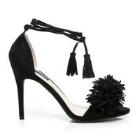 Ozdobné semišové sandály černé