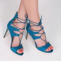Modré hadí sandále se šněrováním