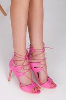 Růžové hadí sandále se šněrováním