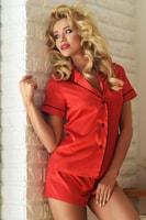 Krátké saténové pyžamo Imperia červené