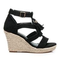 Boho sandály espadrilky černé