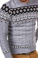 Šedý svetr s norským vzorem pánský