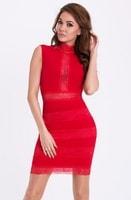 Červené šaty se stojáčkem