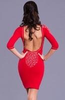 Sexy červené šaty s dlouhým rukávem
