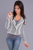 Elegantní šedo-bílé sako