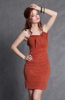 Oranžové šaty bez ramínek