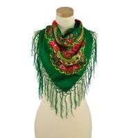Šátek s etno vzorem zelený