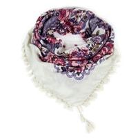 Folkový šátek s květy béžový