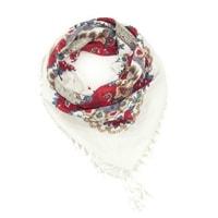 Folkový šátek s květy bílý