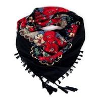 Folkový šátek s květy černý