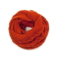 Oranžová - cihlová kruhová šála s copánkovým vzorem