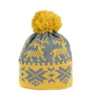 Zimní čepice s norským vzorem žlutá