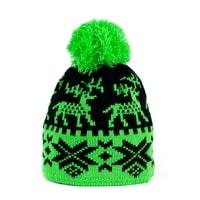 Zimní čepice s norským vzorem zelená