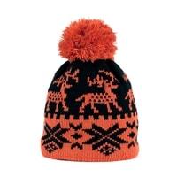 Zimní čepice s norským vzorem oranžová