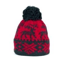 Zimní čepice s norským vzorem červená