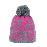 Zimní čepice s norským vzorem růžová