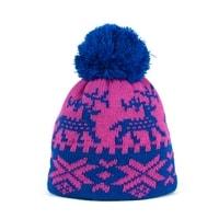 Zimní čepice s norským vzorem modrorůžová