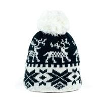 Zimní čepice s norským vzorem černobílá