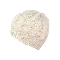 Teplá pletená bílá čepice