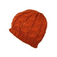 Teplá pletená tmavě oranžová čepice
