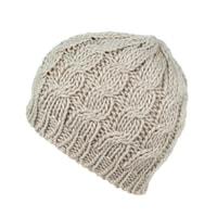 Teplá pletená béžová čepice
