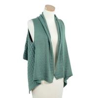 Módní pletená vesta mátově zelená