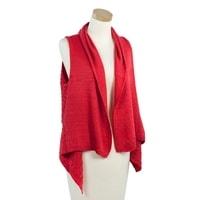 Módní červená pletená vesta