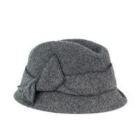 Vlněný šedý klobouk s mašlí