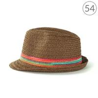 Hnědý trilby klobouk na léto s barevnými pruhy