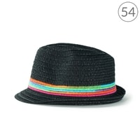 Černý trilby klobouk na léto s barevnými pruhy