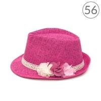 Trilby klobouk holčičí s květinami růžový