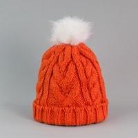Oranžová čepice s bambulí
