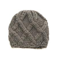Zimní mřížkovaná čepice šedá