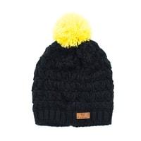 Černá zimní čepice se žlutou bambulí
