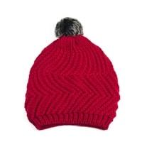 Čepice s kožíškovou bambulí červená