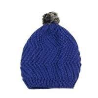 Čepice s kožíškovou bambulí modrá