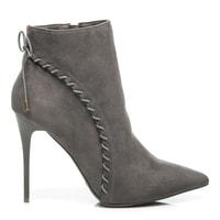 Semišové šedé boty na podpatku
