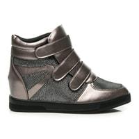 Sneakery na suchý zip střibrné