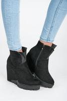 Módní černé semišové podzimní boty
