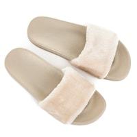 Domácí pantofle s kožešinou béžové