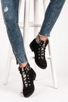 Módní šněrovací boty černé